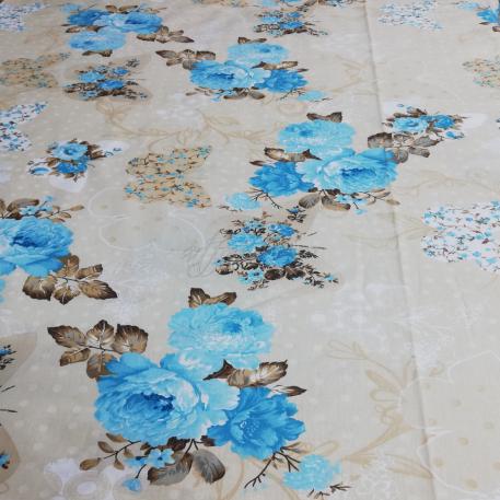 Bumbac Flori albastre fluturasi